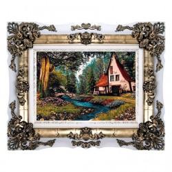تابلو فرش 1200 شانه کاشان طرح خانه ای در جنگل