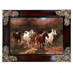 تابلو فرش 1200 شانه کاشان طرح اسب های وحشی