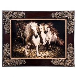 تابلو فرش 1000 شانه کاشان طرح سه اسب