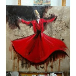 تابلو نقاشی مولایی طرح رقص سماع کد MRS07