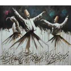 تابلو نقاشی مولایی طرح رقص سماع کد MRS02