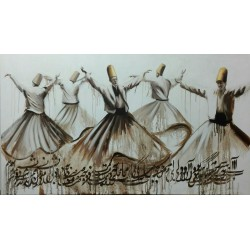 تابلو نقاشی مولایی طرح رقص سماع کد MRS03