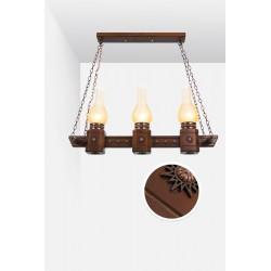 چراغ آویز سه شعله دارکار مدل روستیک خطی کد 125