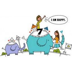 پوستردیواری طرح کارتونی فیل سواری کد FU020