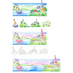 پوستردیواری طرح کارتونی کشتی دریا کد 1 پوستر دیواری