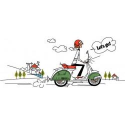 پوستر دیواری طرح کارتونی موتور سواری کد FU.037