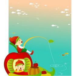 پوستردیواری طرح کارتونی ماهیگیری در برکه کد KD.013