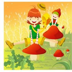 پوستردیواری طرح کارتونی شادی در جنگل قارچ کد KD.012