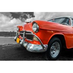 پوستر دیواری طرح ماشین کلاسیک قرمز کد T.005