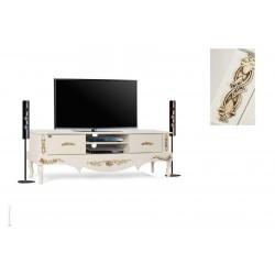میز تلویزیون سفید طلایی های¬گلاس پایهدار کد 2032