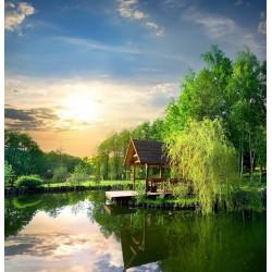 پوستردیواری طرح آلاچیق کنار دریاچه کد Nu.008
