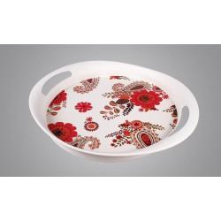 سینی گرد بامبو طرح ترمه و گل قرمز کد 7106.2