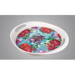 سینی گرد بامبو طرح گل های گرم و سرد کد 7106.4