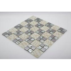 دیوارپوش تزئینی شطرنجی نقره ای کد 5051
