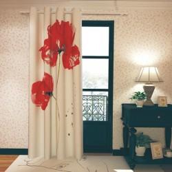 پرده پانچی طرح گل قرمز کد punchi-34