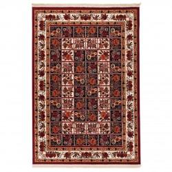 فرش ماشینی 500 شانه دنیای فرش طرح گبه عشایری کد 1001 لاکی