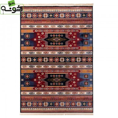 فرش ماشینی 500 شانه دنیای فرش طرح گبه عشایری کد 1002