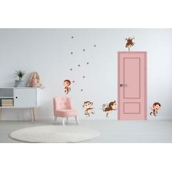 استیکر اتاق کودک مدل میمون های خوشحال