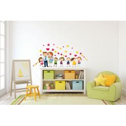 استیکر اتاق کودک مدل خانواده خوشبخت