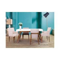 میز ناهار خوری سفید قهوه ای فلور