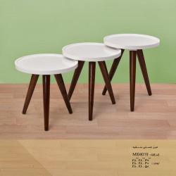 میز عسلی سفید چوبی