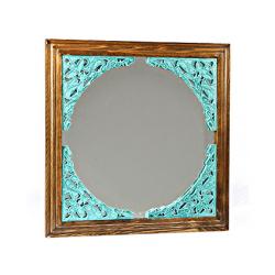 آینه دیواری و رومیزی فیروزه ای کد 178