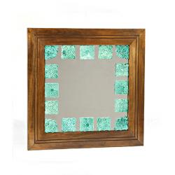 آینه دیواری و رومیزی خشتی فیروزه ای 170