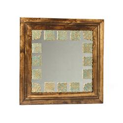آینه دیواری و رومیزی خشتی طلایی 170