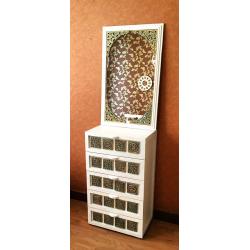 آینه دیواری و رومیزی سفید خشتی کنج 147