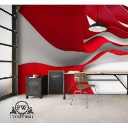 پوستر سهبعدی فیوچروال Future wall طرح موجهای رنگی قرمز