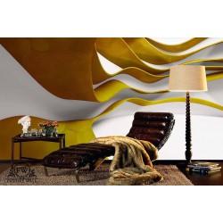 پوستر سهبعدی فیوچروال Future wall طرح موجهای رنگی زرد