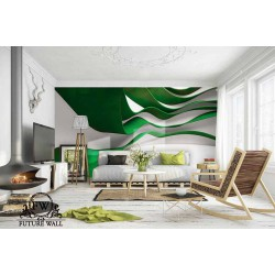 پوستر سهبعدی فیوچروال Future wall طرح موجهای رنگی سبز