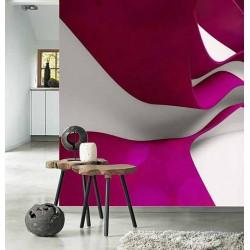 پوستر سهبعدی فیوچروال Future wall طرح موجهای رنگی سرخابی