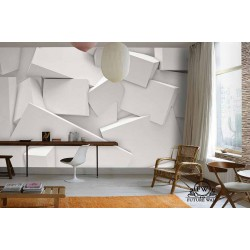 پوستر سهبعدی فیوچروال Future wall طرح مکعب مستطیل سفید