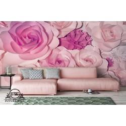 پوستر سهبعدی فیوچروال Future wall طرح گل های رز صورتی
