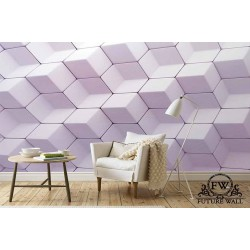 پوستر سهبعدی فیوچروال Future wall طرح شش ضلعی یاسی